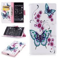 Printy PU kožené knížkové pouzdro na Sony Xperia XZ - motýlkové