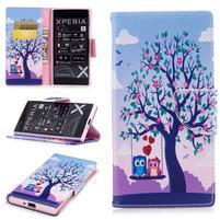 Printy PU kožené knížkové pouzdro na Sony Xperia XZ - láska pod stromem
