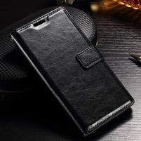 Francis PU kožené peněženkové pouzdro na Sony Xperia XZ - černé