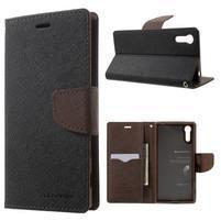 Diary PU kožené pouzdro na mobil Sony Xperia XZ - černé/hnědé
