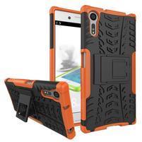 Outdoor odolný obal se stojánkem na Sony Xperia XZ - oranžový
