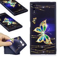 Matty gelový obal na Sony Xperia XZ - zlatý motýl