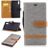 Jeany PU kožené/textilní pouzdro na telefon Sony Xperia XZ - šedé