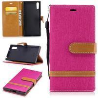 Jeany PU kožené/textilní pouzdro na telefon Sony Xperia XZ - rose