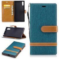Jeany PU kožené/textilní pouzdro na telefon Sony Xperia XZ - zelenomodré