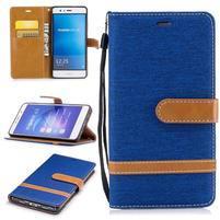Jeany PU kožené/textilní pouzdro na telefon Sony Xperia XZ - modré