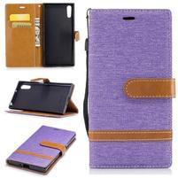 Jeany PU kožené/textilní pouzdro na telefon Sony Xperia XZ - fialové