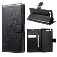 Butterfly PU kožené pouzdro na Sony Xperia XZ Premium - černé