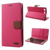 Stylové PU kožené pouzdro na Sony Xperia XZ Premium - rose