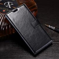Wallet PU kožené zapínací pouzdro na Sony Xperia XZ Premium - černé