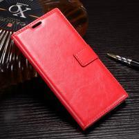Wallet PU kožené zapínací pouzdro na Sony Xperia XZ Premium - červené