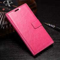 Wallet PU kožené zapínací pouzdro na Sony Xperia XZ Premium - rose