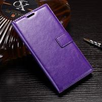 Wallet PU kožené zapínací pouzdro na Sony Xperia XZ Premium - fialové