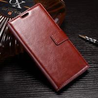 Wallet PU kožené zapínací pouzdro na Sony Xperia XZ Premium - hnědé
