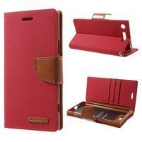 Canvas textilní/PU kožené pouzdro na Sony Xperia XZ1 - červené
