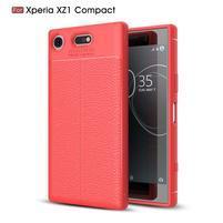 Litchi odolný obal s texturovanými zády na Sony Xperia XZ1 Compact - červený