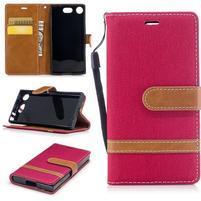 Jean textilní/PU kožené pouzdro na mobil Sony Xperia XZ1 Compact - červené