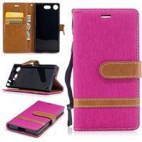 Jean textilní/PU kožené pouzdro na mobil Sony Xperia XZ1 Compact - rose