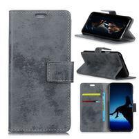 Vintage PU kožené peněženkové pouzdro na mobil Sony Xperia XZ2 Premium - šedé