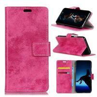 Vintage PU kožené peněženkové pouzdro na mobil Sony Xperia XZ2 Premium - rose
