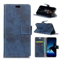 Vintage PU kožené peněženkové pouzdro na mobil Sony Xperia XZ2 Premium - modré