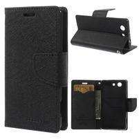 PU kožené peněženkové pouzdro na Sony Z3 Compact - černé
