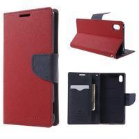 Diary PU kožené pouzdro na Sony Xperia Z3+ - červené