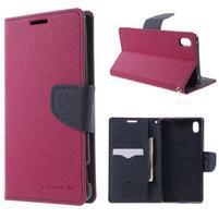 Diary PU kožené pouzdro na Sony Xperia Z3+ - rose
