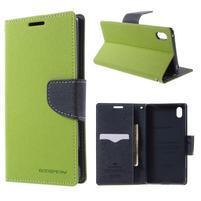 Diary PU kožené pouzdro na Sony Xperia Z3+ - zelené