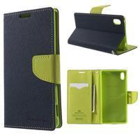 Diary PU kožené pouzdro na Sony Xperia Z3+ - tmavěmodré