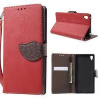 Leaf PU kožené zapínací pouzdro na Sony Xperia Z3+ - červené