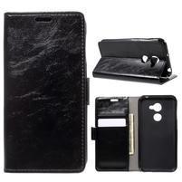 Crazy PU kožené pouzdro na mobil Vodafone Smart N8 - černé
