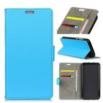 Wall PU kožené peněženkové pouzdro pro Vodafone Smart N9 Lite - modré