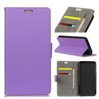 Wall PU kožené peněženkové pouzdro pro Vodafone Smart N9 Lite - fialové