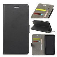 Wall PU kožené peněženkové pouzdro pro Vodafone Smart N9 Lite - černé
