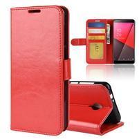 Horse PU kožené peněženkové pouzdro na Vodafone Smart N9 Lite - červené