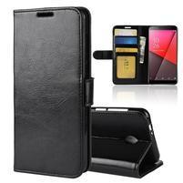 Horse PU kožené peněženkové pouzdro na Vodafone Smart N9 Lite - černé