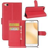 Graines PU kožené pouzdro na mobil Xiaomi Mi 5c - červené