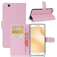 Graines PU kožené pouzdro na mobil Xiaomi Mi 5c - růžové