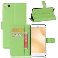 Graines PU kožené pouzdro na mobil Xiaomi Mi 5c - zelené