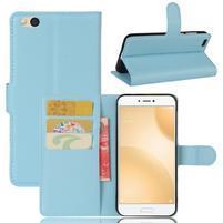 Graines PU kožené pouzdro na mobil Xiaomi Mi 5c - světlemodré