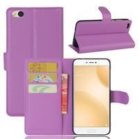 Graines PU kožené pouzdro na mobil Xiaomi Mi 5c - fialové