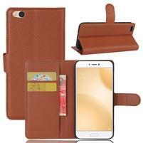 Graines PU kožené pouzdro na mobil Xiaomi Mi 5c - hnědé