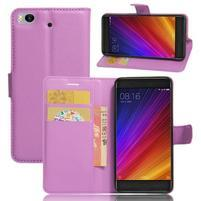 Texture PU kožené pouzdro na mobil Xiaomi Mi5s - fialové