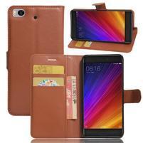 Texture PU kožené pouzdro na mobil Xiaomi Mi5s - hnědé