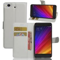 Texture PU kožené pouzdro na mobil Xiaomi Mi5s - bílé