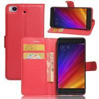 Texture PU kožené pouzdro na mobil Xiaomi Mi5s - červené