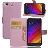 Texture PU kožené pouzdro na mobil Xiaomi Mi5s - růžové