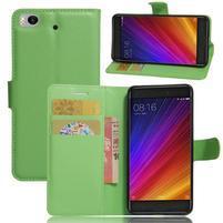 Texture PU kožené pouzdro na mobil Xiaomi Mi5s - zelené