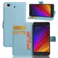 Texture PU kožené pouzdro na mobil Xiaomi Mi5s - světlemodré